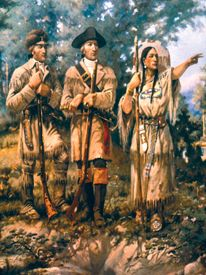 Lewis and Clark with Sacagawea, guiding them.