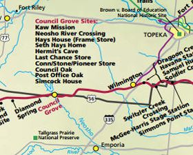 Wabaunsee-Lyon County Santa Fe Trail Map