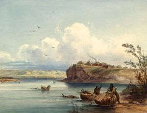 Mandan Village by Karl Bodmer
