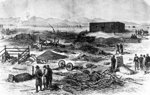 "An etching that appeared in the December 6, 1879 edition of Frank Leslie's Illustrated Newspaper depicts the aftermath of the ""Meeker Massacre."" Meeker grave at lower left; W.H. Post grave at lower right"