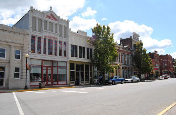 Main Street in New Harmony, Indiana today.