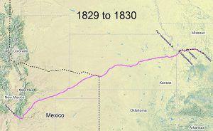 Santa Fe Trail Map 1829-1830