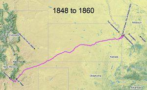 Santa Fe Trail Map, 1848 - 1860