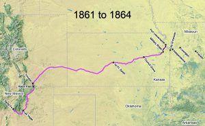 Santa Fe Trail Map, 1861-1864