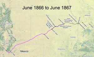 Santa Fe Trail Map 1866-1867
