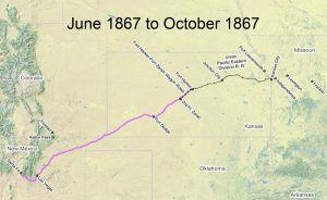 Santa Fe Trail Map, 1867