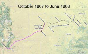Santa Fe Trail Map, 1867-1868