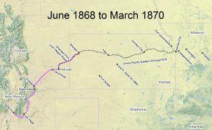 Santa Fe Trail Map, 1868-1870