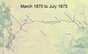 Santa Fe Trail Map, 1870-1873