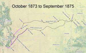 Santa Fe Trail Map, 1873-1875