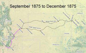 Santa Fe Trail Map, 1875