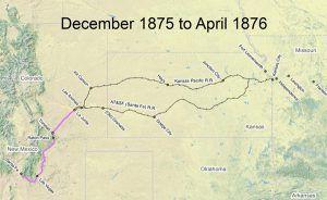 Santa Fe Trail Map, 1875-1876
