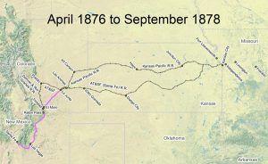Santa Fe Trail Map, 1876-1878