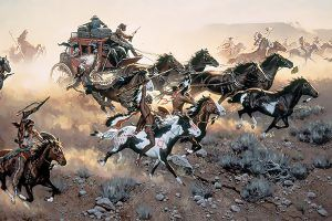 Stagecoach attacked by Indians