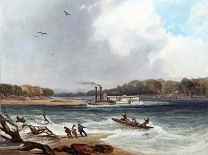 Steamboat on the Upper Missouri River by Karl Bodmer