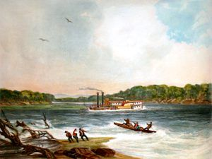 The steamer, Yellowstone, on the Missouri River by Karl Bodmer