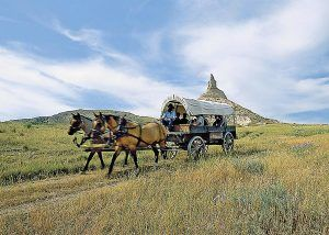 Covered wagon at Chimney Rock, Nebraska
