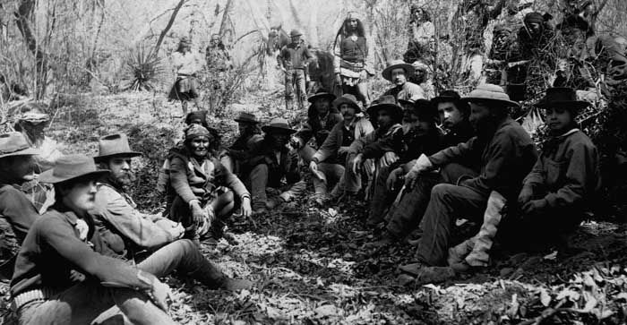 In 1886, Apache leader Geronimo meets with U.S. General Crook near Tombstone, Arizona