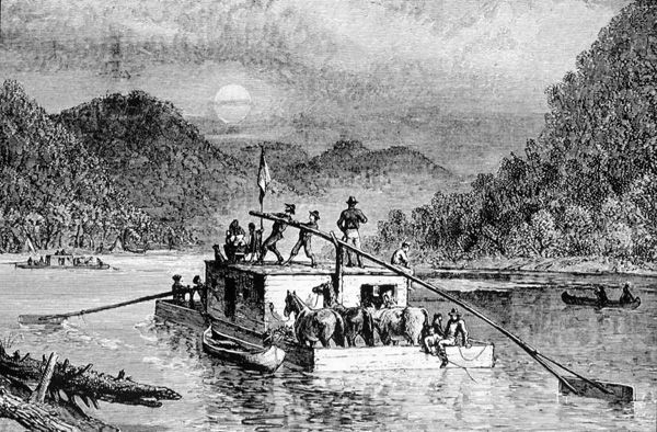 Flatboat on the Ohio River about 1788
