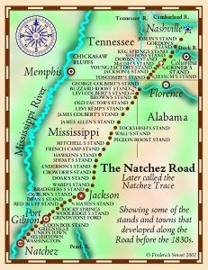 Natchez Trace Map by Frederick Smoot, courtesy Tennessee Gen Web