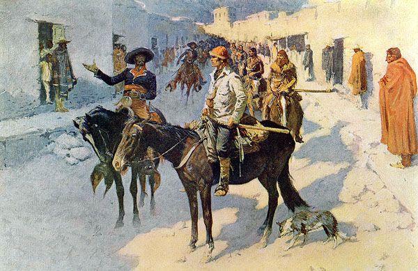 Zebulon Pike entering Santa Fe, New Mexico by Frederic Remington