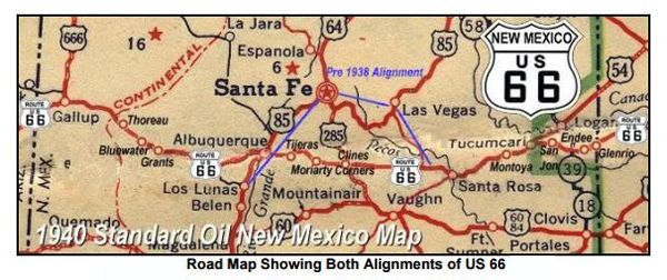 Route 66 New Mexico Map Route 66 Pre 1937 Alignment in New Mexico – Legends of America