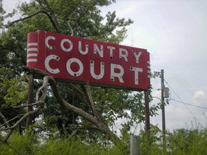 Country Court Sign, now gone, near White Oak, Oklahoma