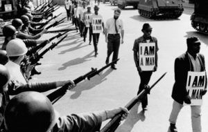 The National Guard stand by during a Civil Rights march in Memphis, Tennessee.