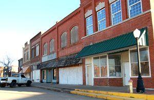 Abandoned businesses line Depew, Oklahoma's Main Street