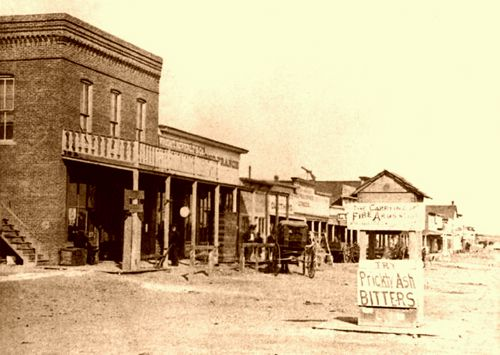 Looking east on Dodge City's Front Street, 1878.