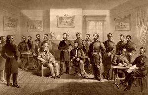 Confederate General Robert E. Lee surrenders to Union General Ulysses S. Grant, by Major and Knapp