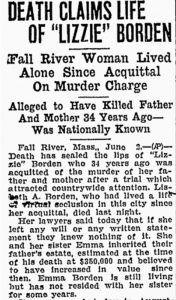 Lizzie Borden death newspaper article