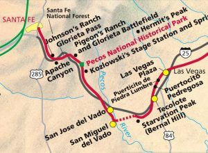 Santa Fe Trail through the Pecos River Valley, New Mexico map
