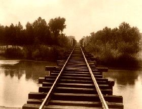 Southern Pacific Railroad bridge over the Calloway Canal, Kern County, California, 1888.