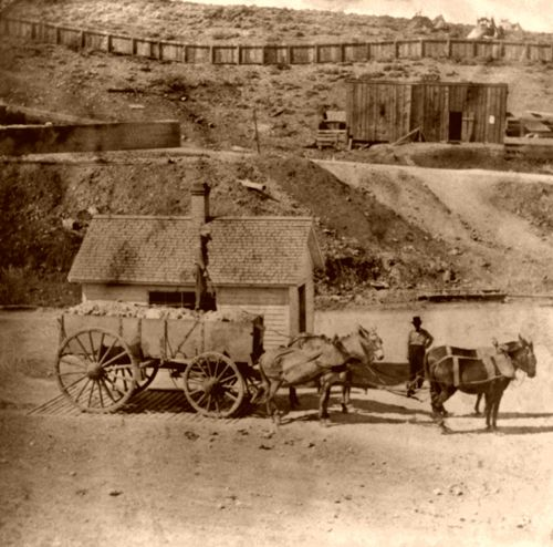 Weighing the load at the Gould & Curry Mine in Virginia City, Nevada,, Lawrence & Houseworth, 1866.