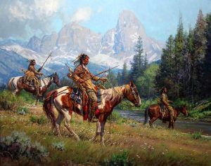 Blackfoot Indians scouting Pierres Hole by Martin Grelle