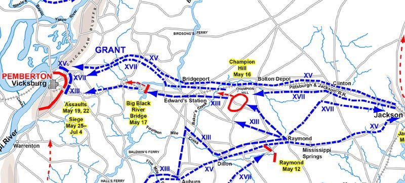 Jackson To Vicksburg Civil War In The Balance Legends Of America - Vicksburg-on-us-map