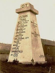 This Ozark Trail Obelisk once stood in Romeroville, New Mexico. However, it is gone today.