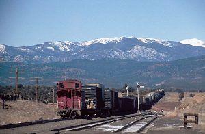 A train makes its way to Glorieta Pass, New Mexico