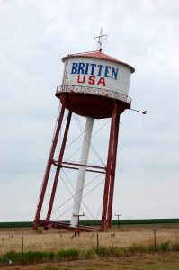 Britten Water Tower, in Groom, Texas, by Dave Alexander, 2018.