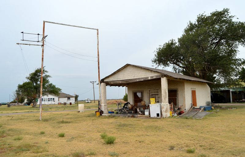 Old service station on the original portion of Route 66 in Conway, Texas by Kathy Weiser-Alexander, 2018.