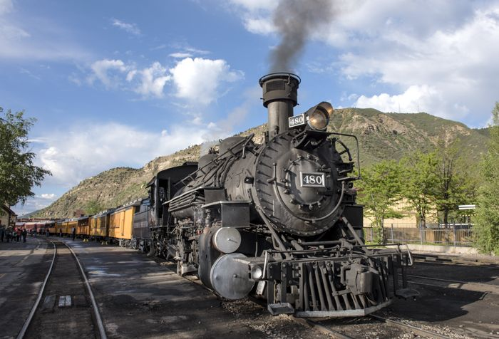 The Durango & Silverton Narrow Gauge Railroad is powered up and ready to leave the Durango, Colorado, station. Photo by Carol Highsmith.