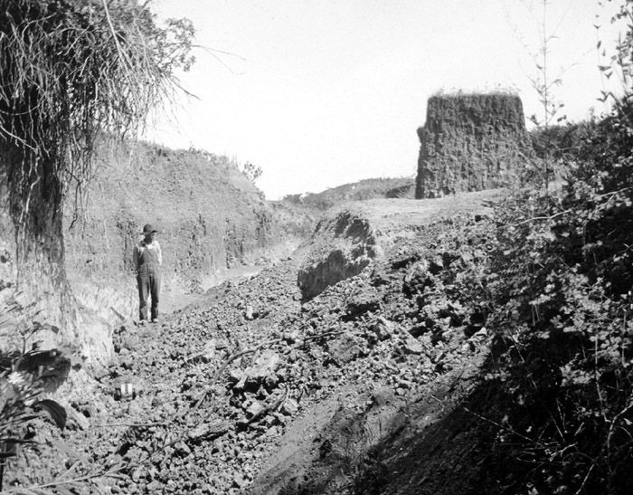 A flash flood in 1908 exposed this archaeological site near Folsom, New Mexico. The site was named for the nearby town of Folsom.