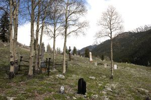 Irregularly placed tombstones at the old Hillside Cemetery, on Boulder Mountain above Silverton, Colorado. Photo by Carol Highsmith, 2015.