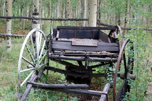 Old wagon by the entry into the Museum at Vicksburg, CO