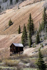 An old mining structure on the Million Dollar Highway by Carol Highsmith.