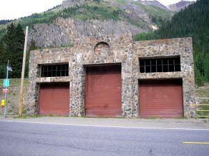 Stone garage built by the Saint Germain Foundation in 1952, near Ironton, Colorado. By Kathy Weiser-Alexander.