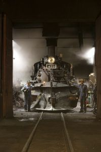 Steam locomotive in the roundhouse of the Durango & Silverton Narrow Gauge Scenic Railroad in Durango, Colordo. By Carol Highsmith.