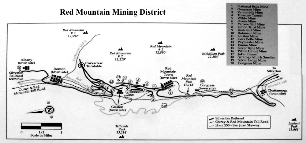Red Mountain Mining District, Colorado Map