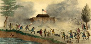 Attack of the Seminole on a block house in Florida, Gray & James, 1837